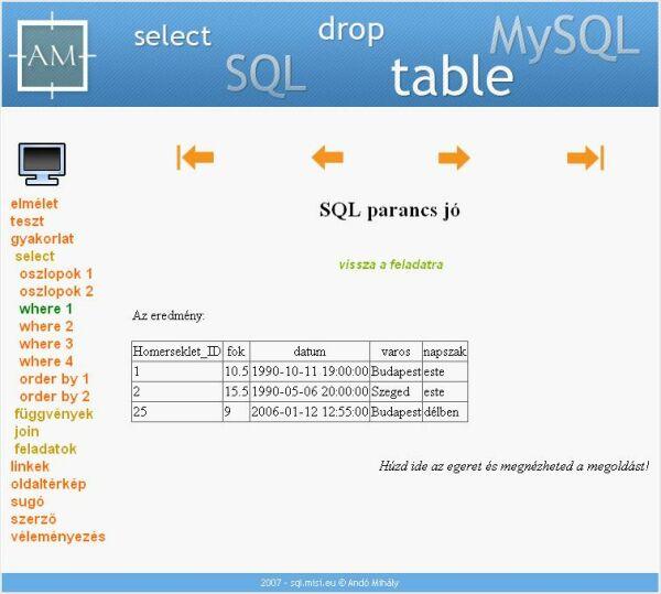 A jó SQL utasítás eredménye