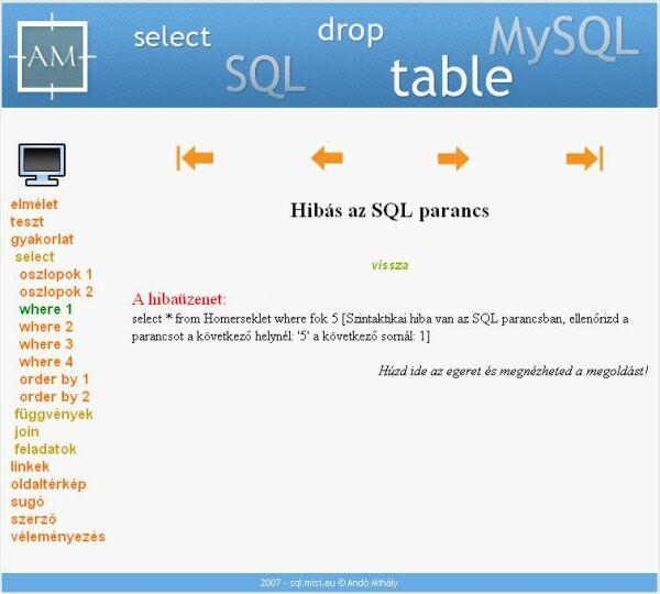 A rossz SQL utasítás eredménye